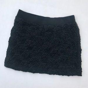 Black Floral Detailed Pencil Skirt
